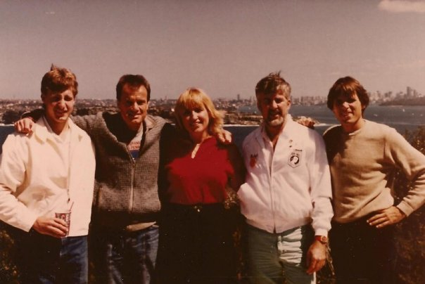 Sydney Harbor_ Wes, Lachlan, me, Bob Dodds, Jeff Grosser