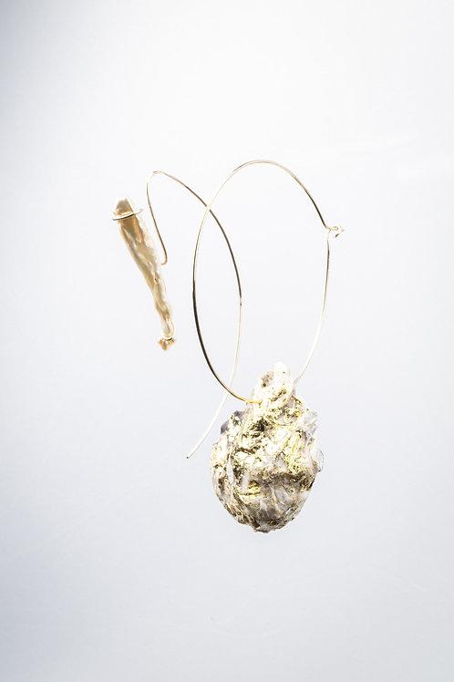 N°3 Créoles géantes perle et coquillage gold-filled - LOUISE KOPIJ