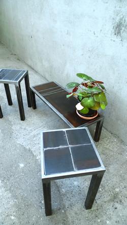 Ensemble de mobilier plateau rouillé