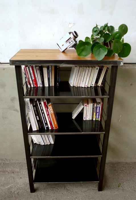 Bibliothèque chêne et acier
