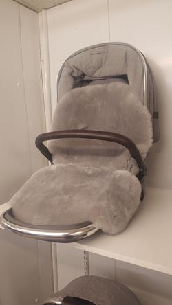 Mamas and Papas faux fur seat liner - grey