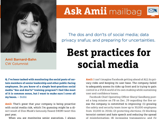 Compliance Week Ask Amii Mailbag: May/June 2019