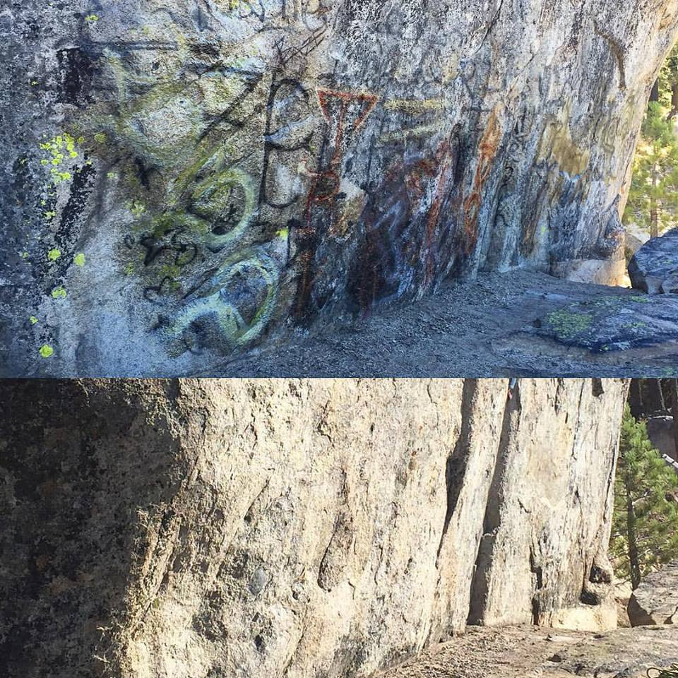 Before and After shot of local crag.