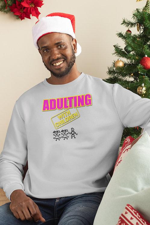 **Personalize Me** Adulting with Children -  Crewneck Sweatshirt