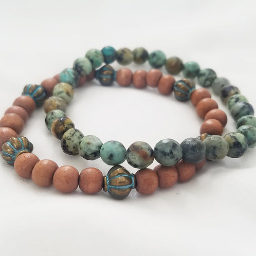 African Turquoise & Wood Bracelets
