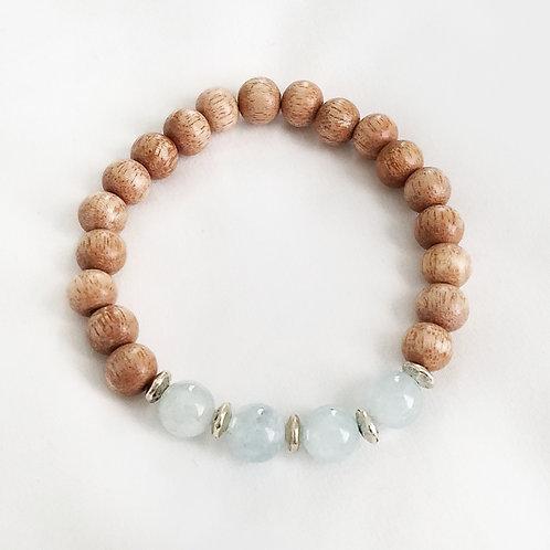 Aquamarine and Wood Bracelet