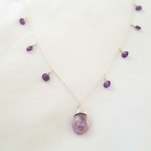Pink Corundum & Amethyst Gypsy Necklace