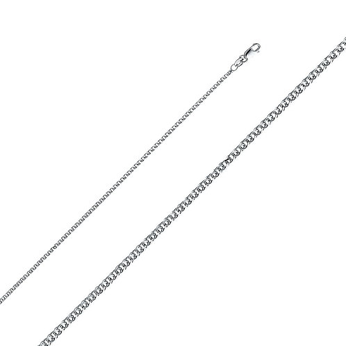 14k White Gold 1.7-mm Flat Wheat Chain Necklace