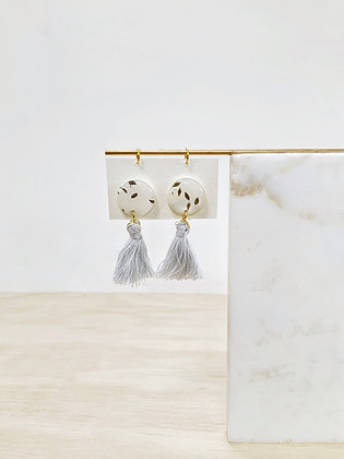 Light Grey WeddingTassel Earrings