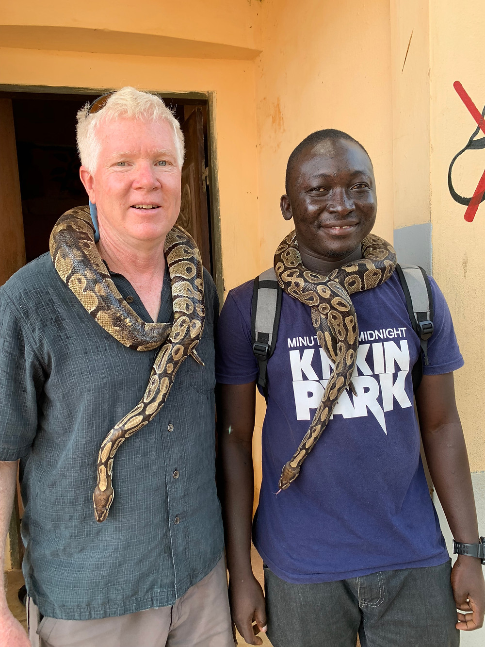 A very important voodoo site.  About 80 snakes in the temple and who they wander away the people bring them back.  Voodoo is considered different than black magic that is used  for evil.  They say Benin is 50% Christian, 50% Muslim and 100% animist