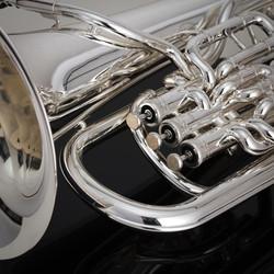 JP374SW Trigger Euphonium in Silverplate Macro Shot