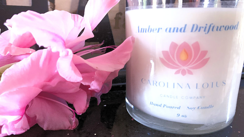 Amber and Driftwood 9 oz Soy Wax Candle