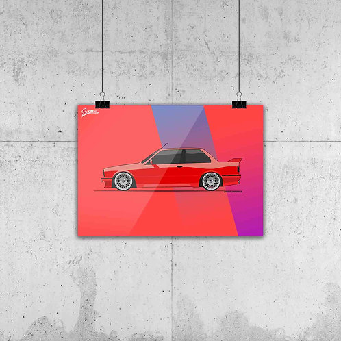 BMW E30 M3 RED POSTER XL | LIMITED SECOND EDITION