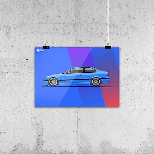 BMW E36 M3 BLUE POSTER XL | LIMITED EDITION