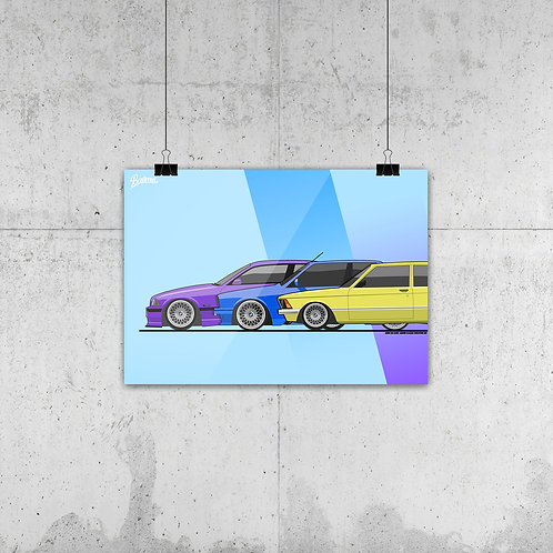 BMW 3ER CLASSIC EVOLUTION POSTER XL | LIMITED EDITION