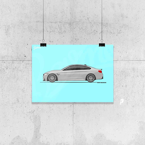 BMW M4 F82 COUPE MINERAL GREY POSTER XL | STRENG LIMITIERT!