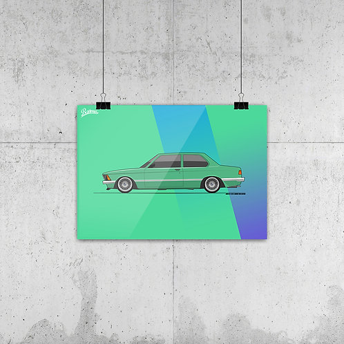 BMW E21 323i MINT GREEN POSTER XL | LIMITED EDITION