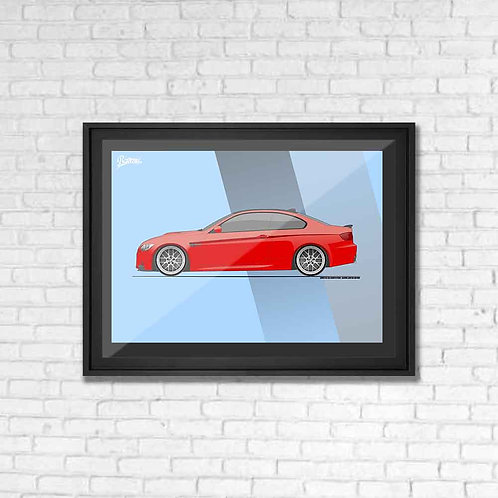 BMW E92 M3 COMPETITION RED POSTER XL | LIMITED EDITION
