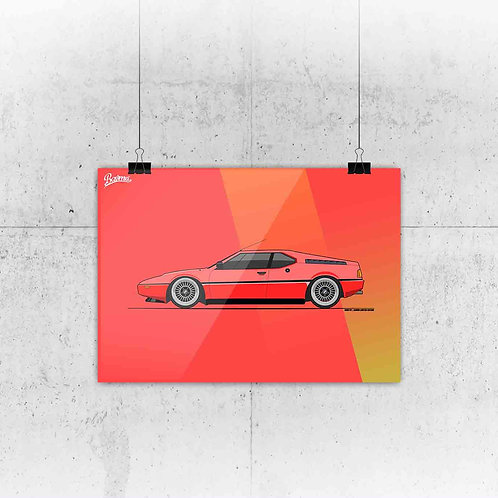 BMW M1 LEGEND RED POSTER XL | LIMITED EDITION