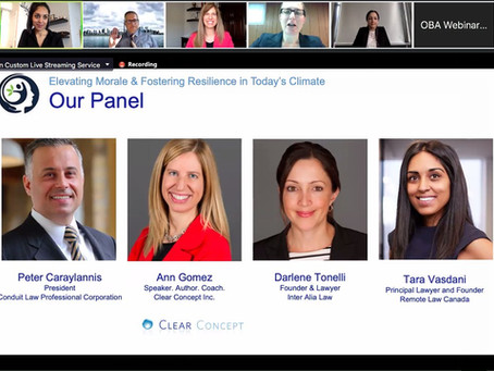 """Tara speaks to members of the Ontario Bar Association re, """"Fostering Resilience in Today's Climate"""""""