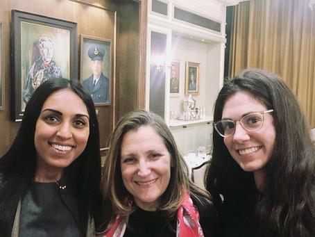 Tara with Chrystia Freeland, Foreign Affairs Minister at ICJ Canada Dinner