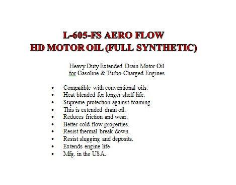 L-605-FS Aero Flow HD Motor Oil Full Synthetic Extended Drain