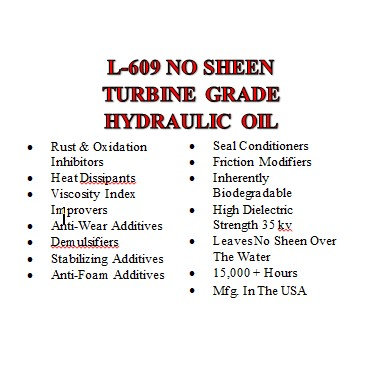 L-609 No Sheen Turbine Grade Hydraulic Oil