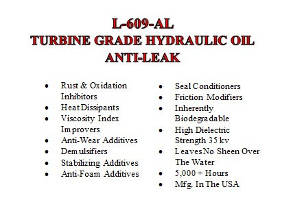 L-609-AL Anti-Leak Hydraulic Oil