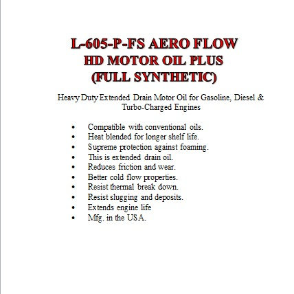 L-605-P-FS Aero Flow HD Motor Oil- Plus Full Synthetic