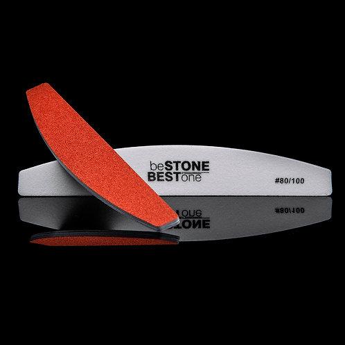 Оранжево-бяла пластик пила 80/100 мека за изкуствен нокът