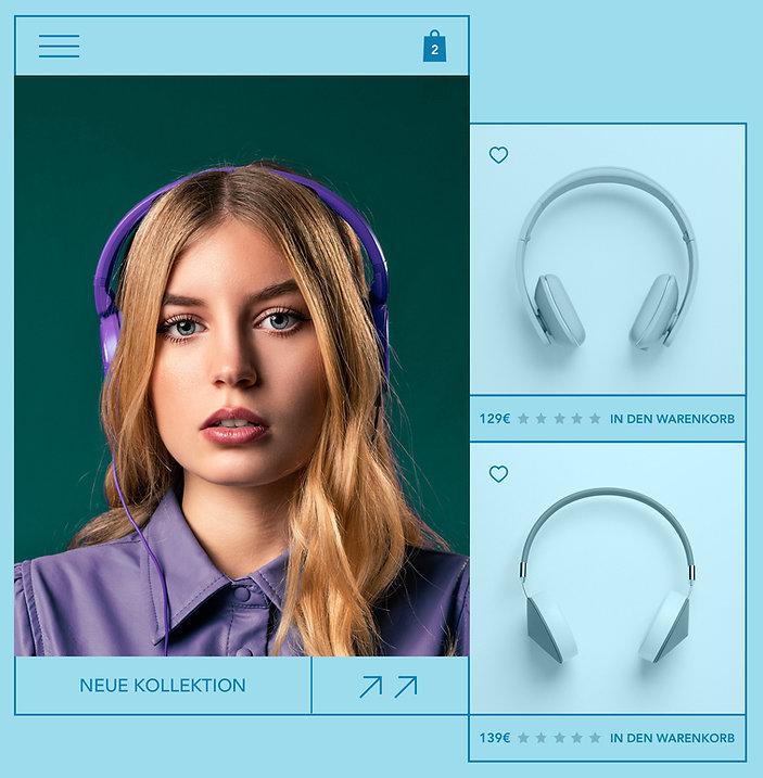eCommerce-Website für Kopfhörer, mit Produktbild, Produktbewertung und afroamerikanischer Frau, die sich an dem Produkt erfreut.