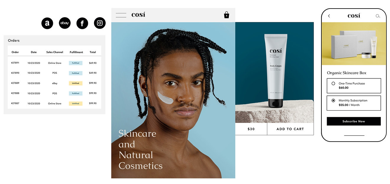 Order fulfillment with multiple sales channels for a natural cosmetics website, and an option to purchase a product subscription on mobile