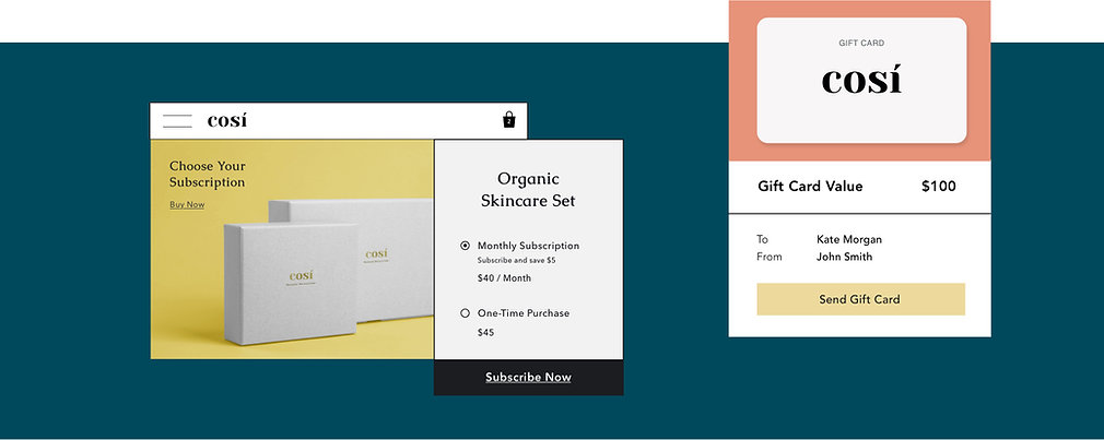 Online cosmetic store offering digital gift cards and product subscription boxes.