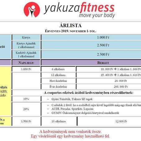 Yakuza Fitness Árlista