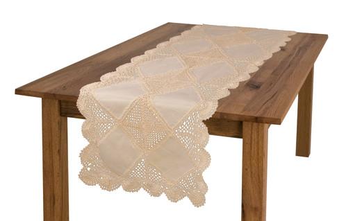 handmade crochet table runner beige 16 x 36