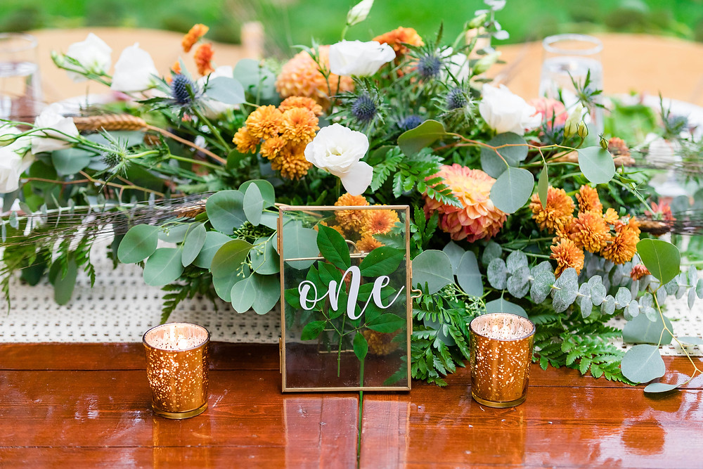 Pressed greenery table numbers