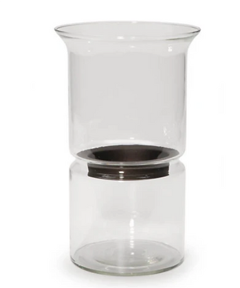 Hourglass Hurricane Vase with Candle Holder Insert