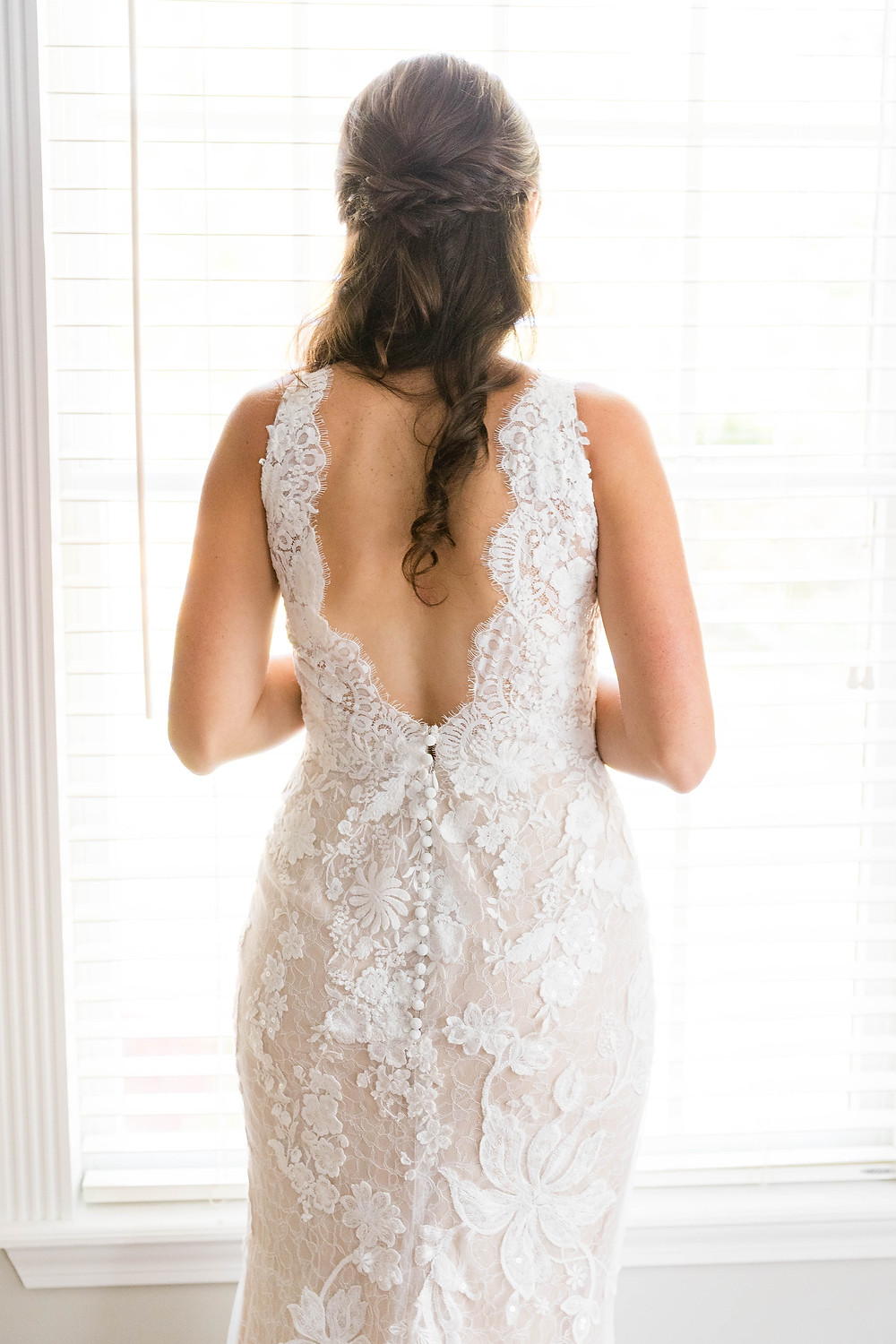 Beautiful Low Back Lace Wedding Gown