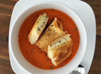 Tomato Soup with Grilled Cheese Croutons