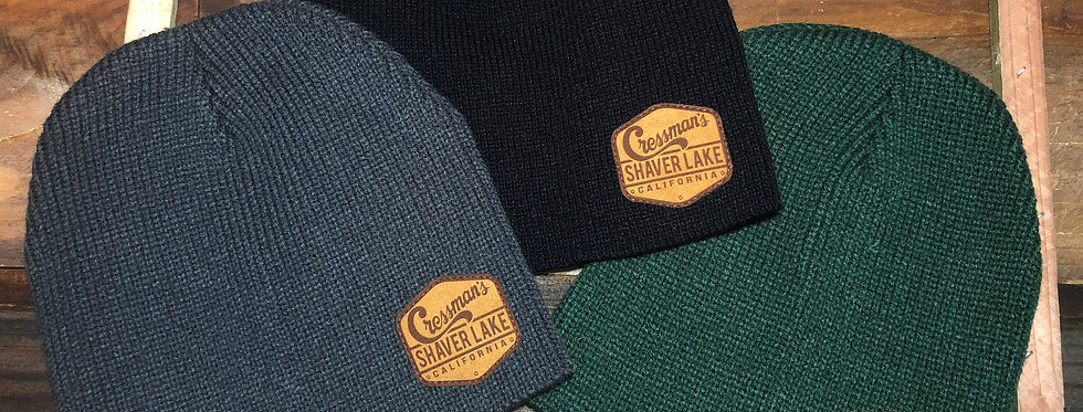 Leather Patch Beanie Adult
