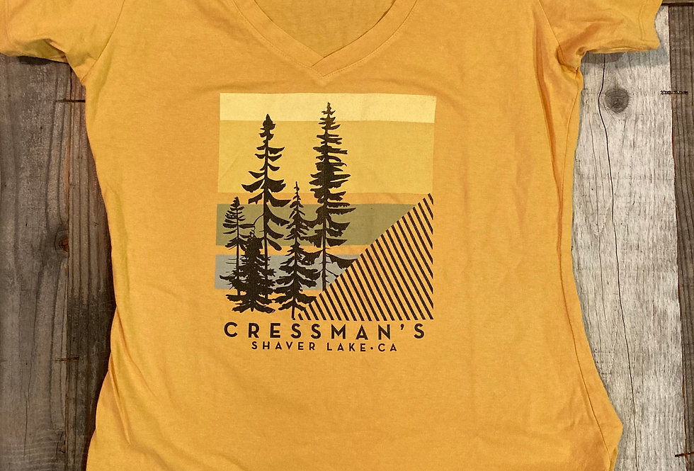 Cressman's Trees V-Neck T-Shirt Women's Mustard