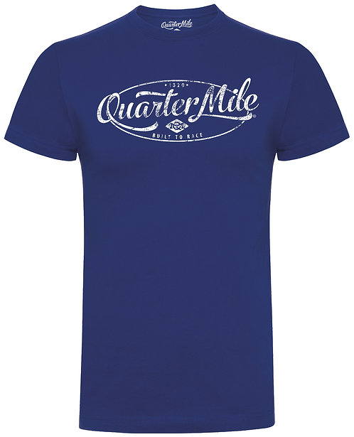 Distressed Oval Quarter Mile T-Shirt (Navy)