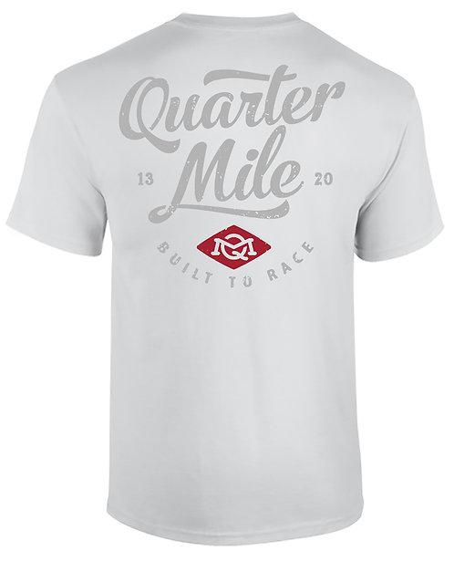 QM Stacked V-Neck Quarter Mile T-Shirt (White)