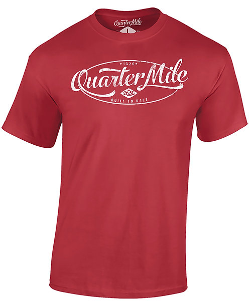 Distressed Oval Quarter Mile T-Shirt (Red)