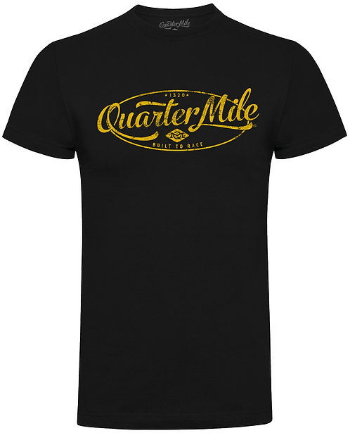 Distressed Oval Quarter Mile T-Shirt (Black)