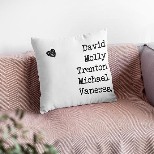 Family Typewriter Name Cushion