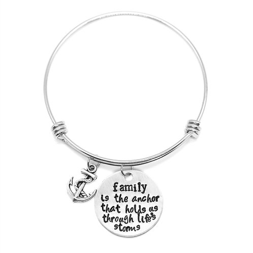 family is the anchor that holds us through life's storms Bangle