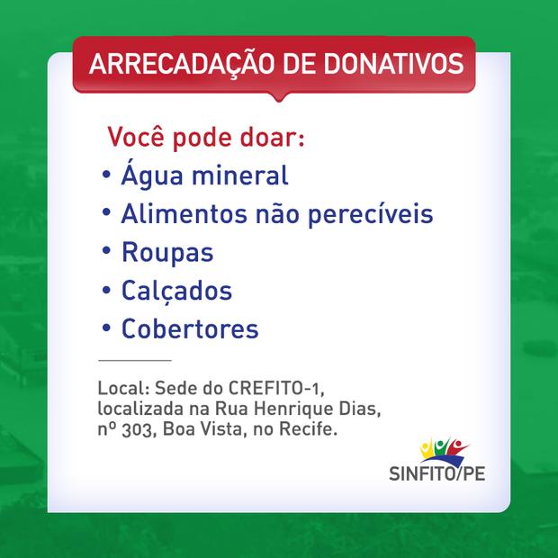 Sinfito/PE faz campanha para arrecadação de donativos