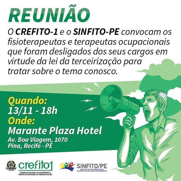 Sinfito/PE e CREFITO-1 promovem reunião com profissionais