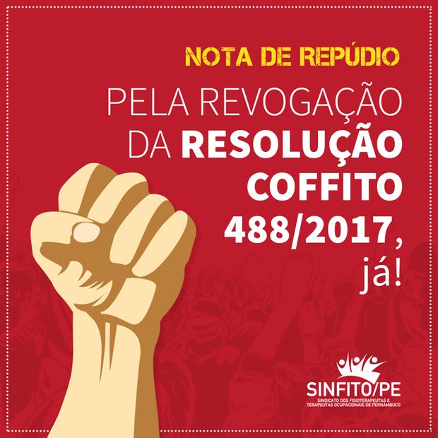 Sinfito/PE lança nota de repúdio a resolução do COFFITO